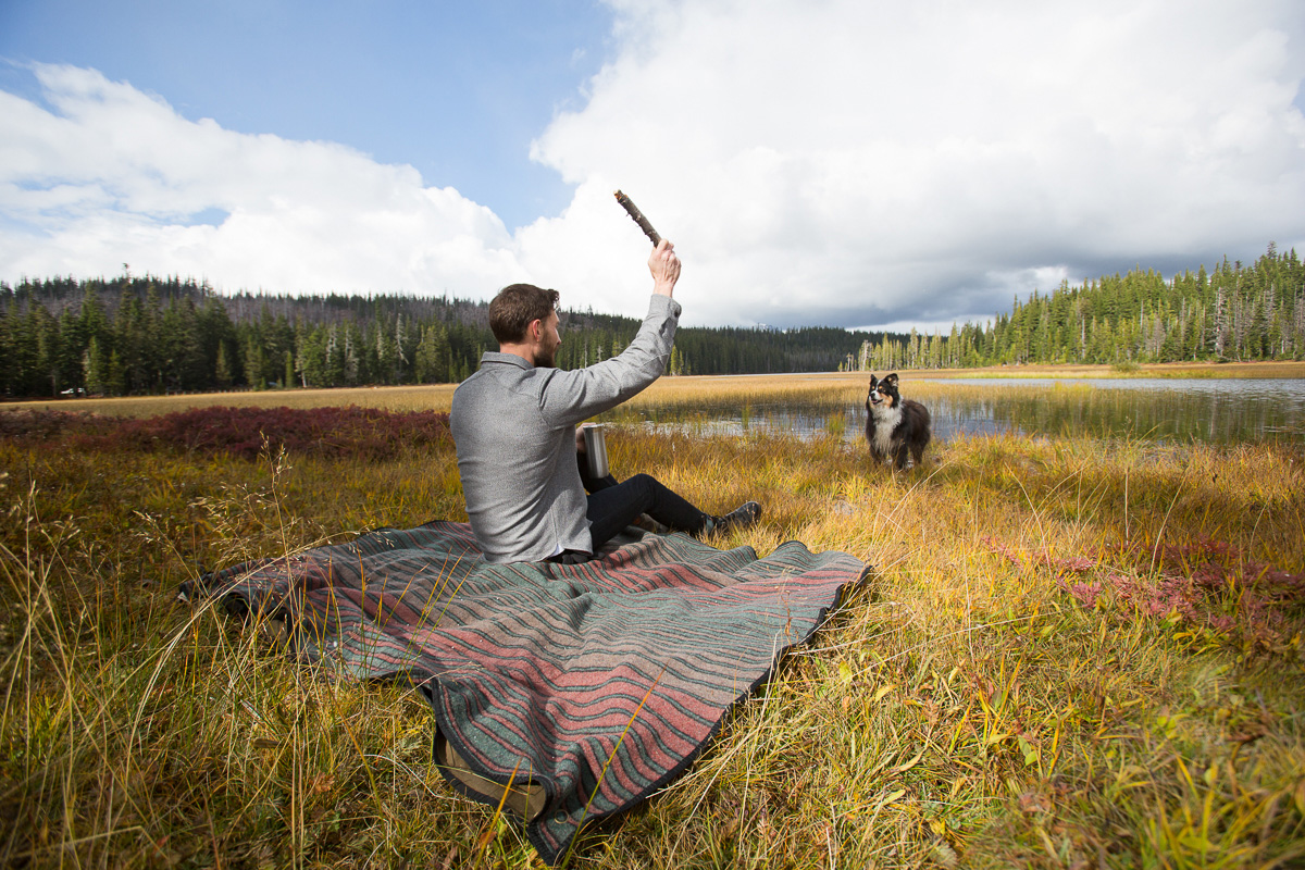 Man on blanket throwing a stick for dog